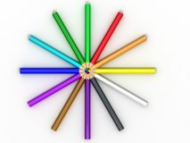 Rainbow pencil. Isolated on white Royalty Free Stock Image