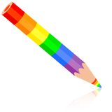 Rainbow pencil , vector illustration. Royalty Free Stock Images
