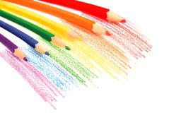 Rainbow pencils. Rainbow colored drawing with color pencils isolated on white Stock Photography
