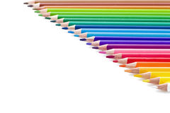 Rainbow Pencils. Group Coloured Wood Pencils Isolated on White Background Stock Image