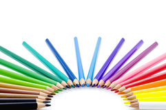 Rainbow Pencils. Group Coloured Wood Pencils Isolated on White Background royalty free stock photos