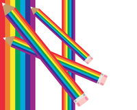 Rainbow pencils. An illustration of a rainbow design with three rainbow pencils on a white background royalty free illustration