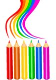 Rainbow pencils. Set of colorful pencils with rainbow effect Stock Photo