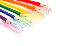 Rainbow pencils. Rainbow colored drawing with color pencils isolated on white Stock Photo