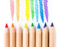 Rainbow Pencils art school supplies Stock Photos