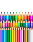 Rainbow pencils background. Colorful rainbow pencil rows background stock illustration