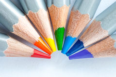 Rainbow of pencils. Colored pencils on white paper. Richard Of York Gave Battle In Vain. Royalty Free Stock Photos