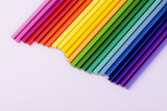 Rainbow from pencils. 23 coloured pencils on a white background Royalty Free Stock Photo