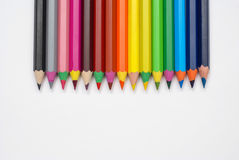 Rainbow pencils. Crayons sorted by colors of the rainbow Royalty Free Stock Photos