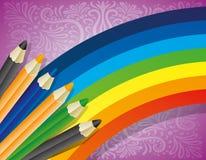 Rainbow and pencils. Stock Photos