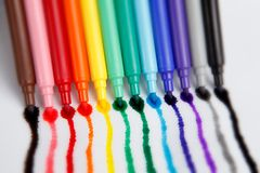 Rainbow Pens Royalty Free Stock Images