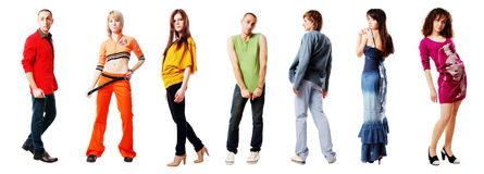 Rainbow people. Young people wearing the colors of the rainbow Royalty Free Stock Photography