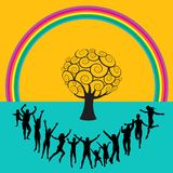 Rainbow and people dancing Royalty Free Stock Image
