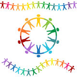 Rainbow People Holding Hands Banners Stock Images