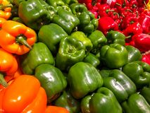 A rainbow of Peppers royalty free stock image