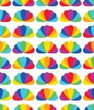 Rainbow petal flower like shell symmetry seamless pattern. This illustration is design rainbow petal flower abstract like shell in symmetry on white color stock illustration