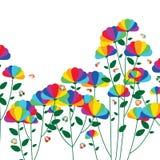 Rainbow petal flower plant butterfly card royalty free illustration