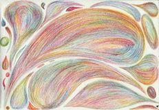 Rainbow petals and drops. The picture is made by multi-color pencils on paper. The image size is about A4 Stock Photos
