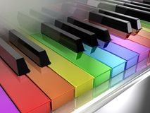 The rainbow piano. The white piano with keys of different colours of a rainbow stock illustration