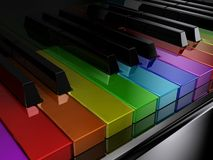 The rainbow piano. The black piano with keys of different colours of a rainbow Stock Photography