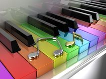 The rainbow piano. The white piano with keys of different colours of a rainbow royalty free illustration