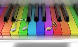 The rainbow piano. The white piano with keys of different colours of a rainbow Royalty Free Stock Photography