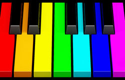Rainbow piano keyboard Stock Image