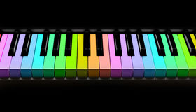 Rainbow piano keyboard, isolated on black Royalty Free Stock Photos