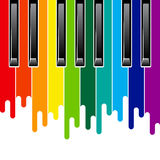 Rainbow piano keyboard Stock Images