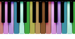 Rainbow piano keys Stock Photo