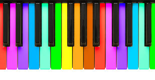 Rainbow piano keys Stock Photos
