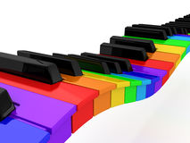 Rainbow piano over white background Stock Photos