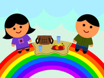 Rainbow picnic Royalty Free Stock Image