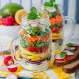 Rainbow Picnic Salad in a Mason Jar Royalty Free Stock Photos