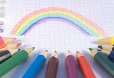 Rainbow picture. With colored pencils Stock Photos