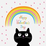 Rainbow and pink heart rain with cute cartoon cat Royalty Free Stock Photography
