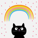 Rainbow and pink heart rain with cute cartoon cat. Flat design style. Royalty Free Stock Photos