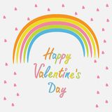 Rainbow and pink heart rain Flat design style. Happy Valentines day card Stock Images