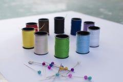 Rainbow Pins and Thread Stock Photo