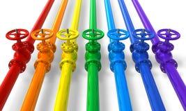 Rainbow pipelines with valves. Set of rainbow pipelines with valves isolated on white background Royalty Free Stock Photos