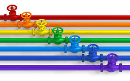 Rainbow pipelines with valves. Isolated on white background Stock Image