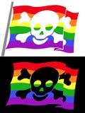 Rainbow pirate flag with skull jolly roger vector illustration