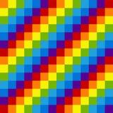 Rainbow pixel seamless pattern. Alternating colored diagonal squ Royalty Free Stock Images