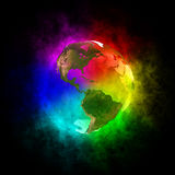 Rainbow planet Earth - America. 3D illustration of Rainbow planet Earth. Theme of creativity, change of consciousness, ecology, spirituality, creation of the stock illustration