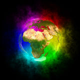 Rainbow planet Earth - Europe Royalty Free Stock Images