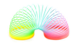 Rainbow plastic spring toy Stock Photo