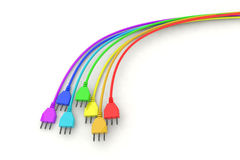 Rainbow plug for clean energy Royalty Free Stock Photo