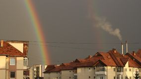 Rainbow and Pollution Chimney stock video
