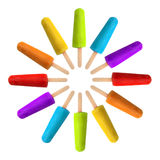 Rainbow Popsicles. Circle of popsicles in rainbow colors Stock Photography