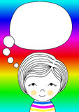 Rainbow postcard with a little girl. Little girl with a thought balloon and a rainbow background Royalty Free Stock Photo